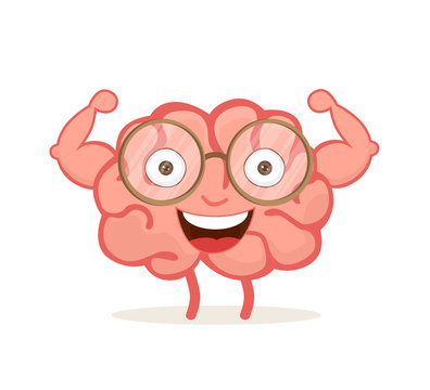 Strong happy healthy brain cartoon character show his biceps. Vector illustration isolated on white background.