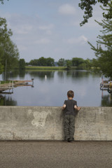 Boy, Child, bridge,lake, water, river, landscape, nature, sky, reflection, blue, trees, summer, pond, forest, fishing, clouds, tree, green, boat, autumn, spring, grass, outdoors, cloud