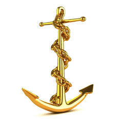 Vector 3d Gold anchor with chain