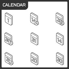Calendar outline isometric icons