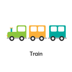 Train in cartoon style, card with transport for kid, preschool activity for children, vector illustration