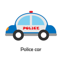 Police car in cartoon style, card with transport for kid, preschool activity for children, vector illustration