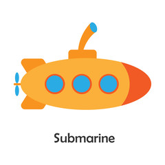 Submarine in cartoon style, card with transport for kid, preschool activity for children, vector illustration