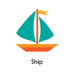 Ship in cartoon style, card with transport for kid, preschool activity for children, vector illustration