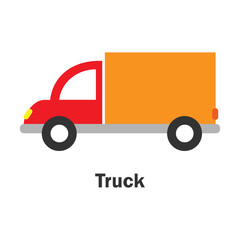 Truck in cartoon style, card with transport for kid, preschool activity for children, vector illustration