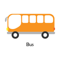 Bus in cartoon style, card with transport for kid, preschool activity for children, vector illustration
