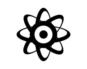 atom black silhouette neutron atom molecular proton particle chemistry image vector icon