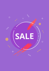 Sale banner with geometric abstract composition. Vector illustration.
