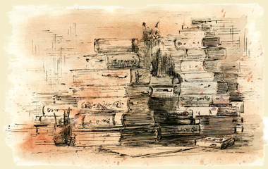stack of books, ink and watercolor drawing.