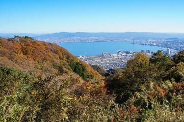 比叡山から琵琶湖を臨む(滋賀県、日本)