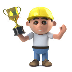 Vector 3d Construction worker wins a gold trophy award