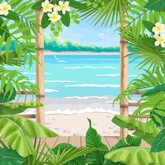 Tropical Background with Terrace on Seaside.