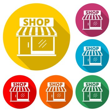 Store icon, Shop icon, color icon with long shadow