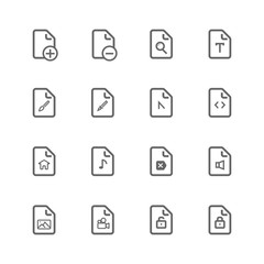 simple universal file icon set, basic outline use for website and mobile