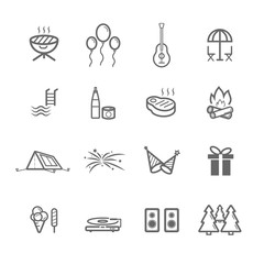 simple outdoors party icon set