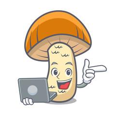 With laptop orange cap boletus mushroom character cartoon