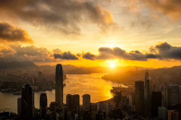 Fototapete - Aerial view of  Hong Kong City skyline at sunrise