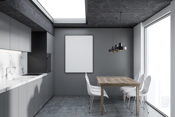 White marble and gray kitchen interior, poster