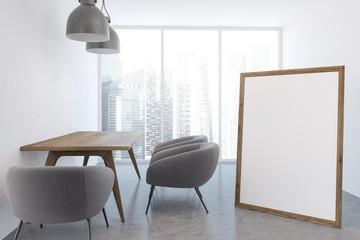 White living room interior, poster
