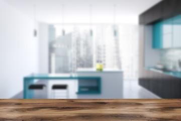 Black and blue original kitchen, bar blur