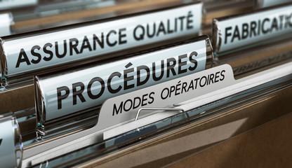 ISO 9001, Système de Management de la Qualité SMQ. Procédures et modes opératoires.