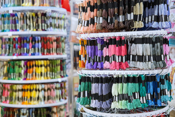Many different thread for embroidery  in the store.
