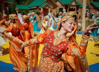 Artists perform at the Sabantuy, a summer festival marking the end of spring crop planting, in Kazan