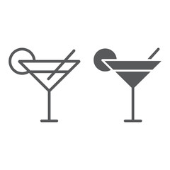 Cocktail line and glyph icon, travel and tourism, drink sign vector graphics, a linear pattern on a white background, eps 10.