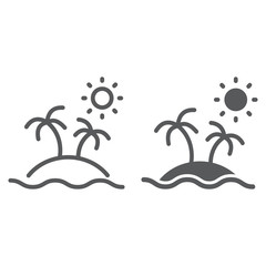 Island line and glyph icon, travel and tourism, palm trees sign vector graphics, a linear pattern on a white background, eps 10.