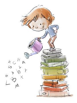 niño regando libros