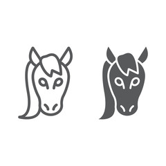 Horse line and glyph icon, animal and zoo, mustang sign vector graphics, a linear pattern on a white background, eps 10.