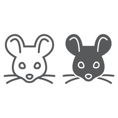 Mouse line and glyph icon, animal and zoo, rat sign vector graphics, a linear pattern on a white background, eps 10.