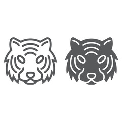 Tiger line and glyph icon, animal and zoo, cat sign vector graphics, a linear pattern on a white background, eps 10.