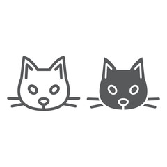 Cat line and glyph icon, animal and zoo, pet sign vector graphics, a linear pattern on a white background, eps 10.
