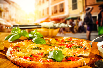 fresh hot pizza in Italy