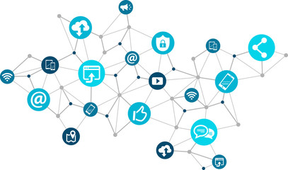 mobile communication / social media marketing challenges design - vector illustration Wall mural