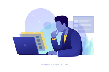 Concept of work in office. Businessman carefully looks at screen and analyzes data on an open laptop. Work in overtime. Modern flat style vector illustration.