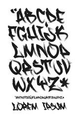 Graffiti marker font - Hand written - Vector alphabet