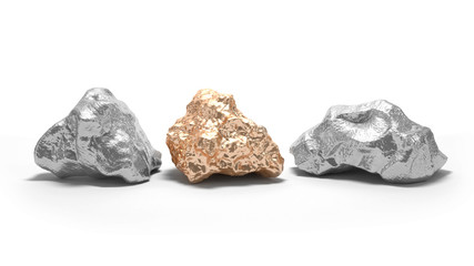 Silver and gold nuggets on a white background. 3d render