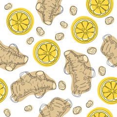 Ginger roots with lemon. Hand draw ingredient for warming tea. Whole and sliced ginger roots with lemon. Vector seamless pattern