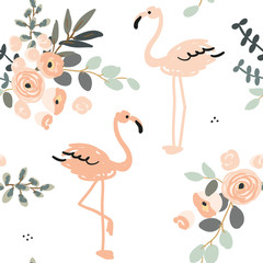 Blush pink flamingo and floral bouquets with gray leaves on the white background. Vector seamless pattern with tropical birds and flowers. Exotic summer beach.