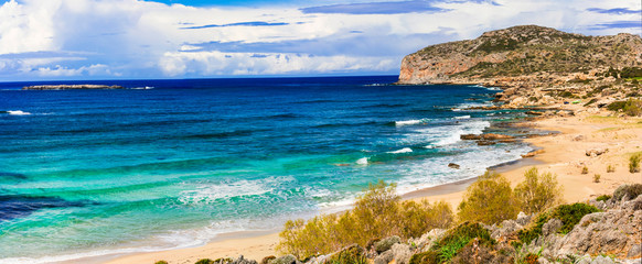 Wall Mural - Impressive view of wild part Falasarna beach. beautiful beaches of Crete island. Greece