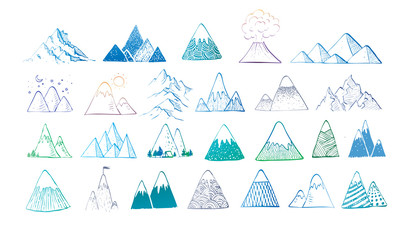 Set of hand drawn blue doodle sketch mountains