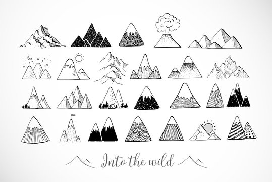 Set of hand drawn doodle sketch mountains on white background
