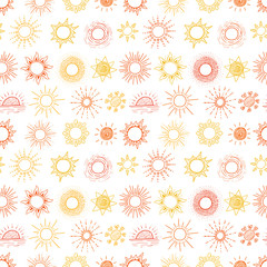 Seamless pattern with yellow and orange doodle sun on white background. Can be used for wallpaper, pattern fills, textile, web page background, surface textures.