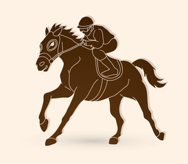 Horse racing ,Jockey riding horse,  graphic vector.