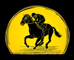 Horse racing ,Jockey riding horse, designed on sunlight background graphic vector.
