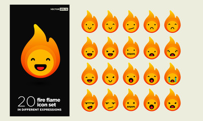 Fire Flame Emoji Line Icons In Different Expressions
