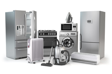 Home appliances. Set of household kitchen technics isolated on white background. Fridge, gas cooker, microwave oven, washing machine vacuum cleaner air conditioneer and iron.