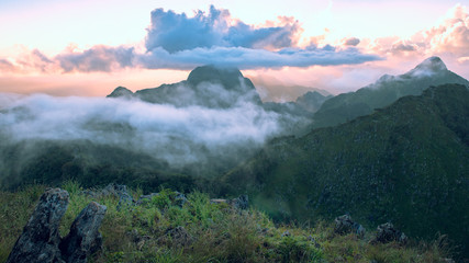 Beautiful mountains landscape of Doi Luang Chiang Dao at sunset,  is a 2,175 m high mountain in Chiang Dao District of Chiang Mai Province, Thailand.
